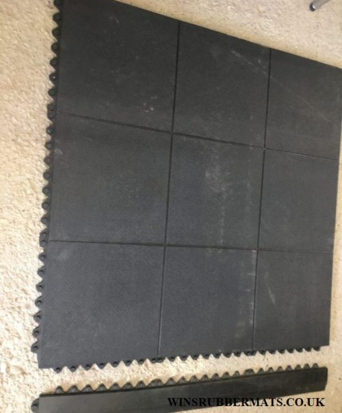 Edging for heavy duty rubber interlocking gym or garage mats